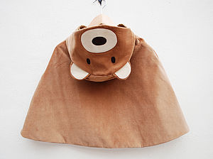 Teddy Bear Girls Cape Jacket In Toffee Velvet - cosy clothing