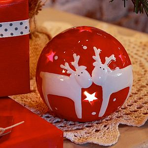 Red Ceramic Reindeer Ball Tealight Holder - votives & tea light holders