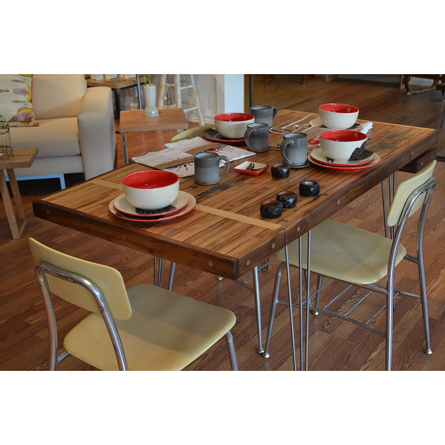 Reclaimed Extension Dining Table By Wicked Hairpins