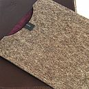 Chocolate leather, taupe felt/aubergine suede