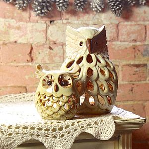 Ceramic Owl Tealight Holder - lights & candles