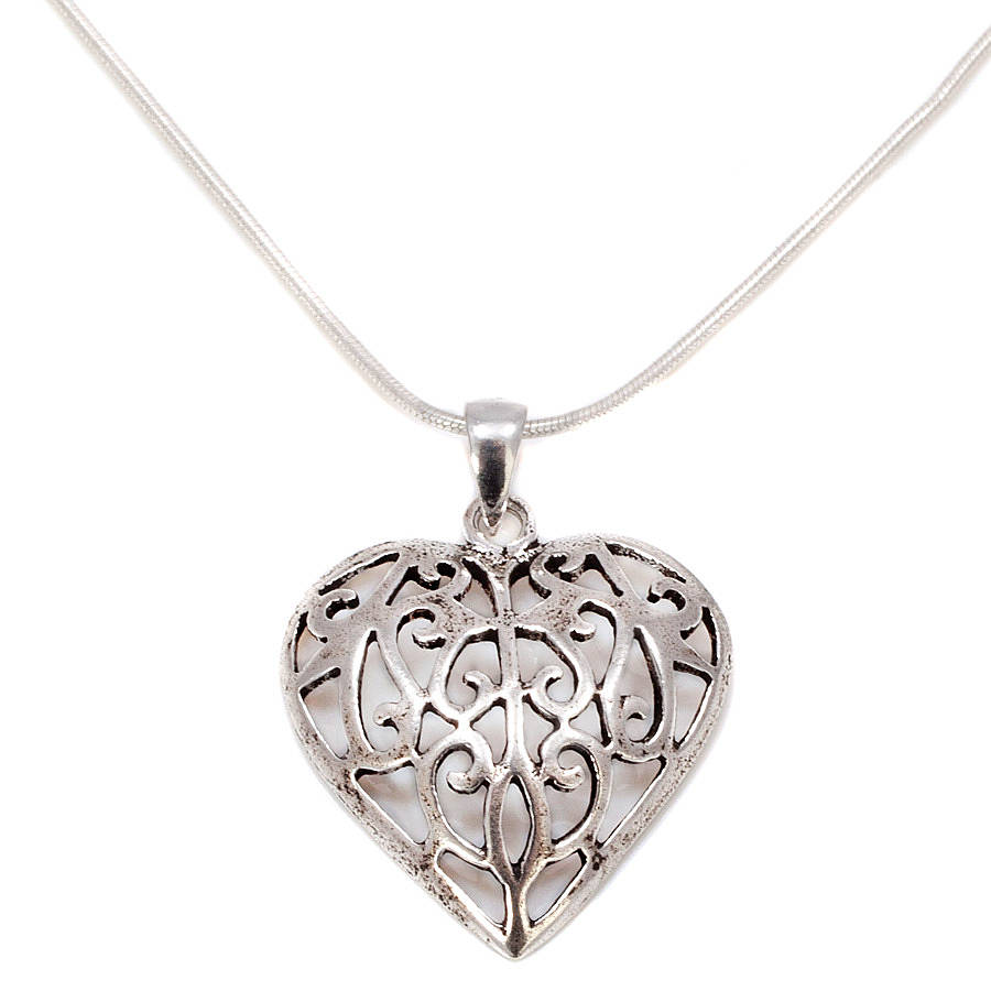 Silver Heart: 20% Off Filigree Silver Heart Necklace By Charlotte's Web
