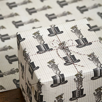 Two Pk Mad Hatter Gift Wrap Set