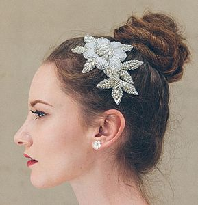 Rosa Floral Pearl Beaded Flower Wedding Comb