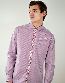 Gingham Shirt With Floral Trim