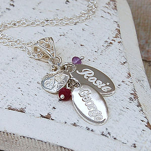 Personalised Silver Birthstone Necklace - gifts for mothers