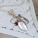 Personalised Silver Birthstone Necklace