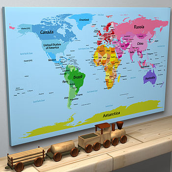 Child's Big Text World Map