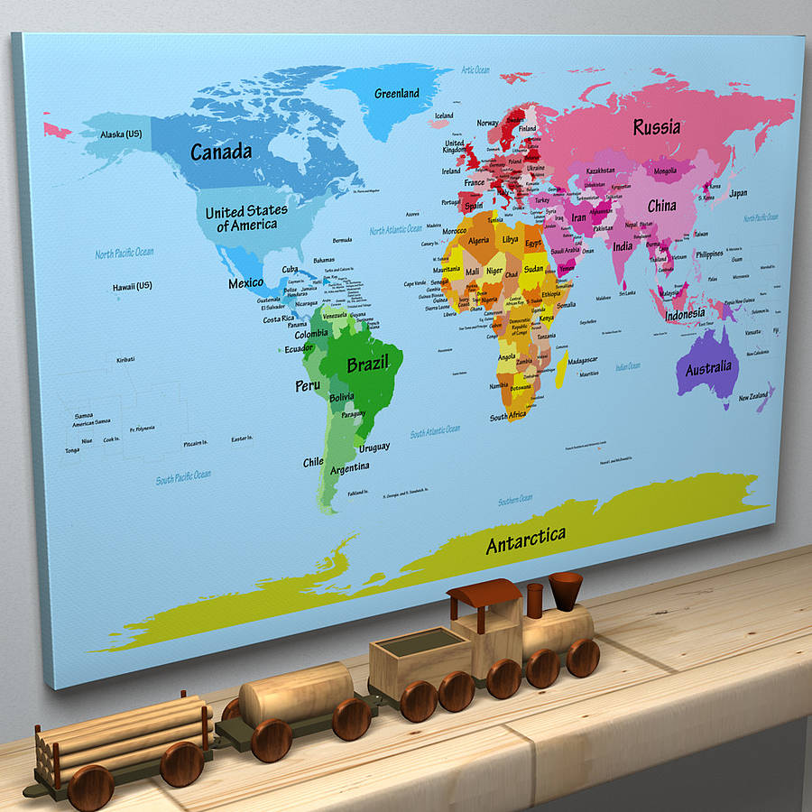 Childs big text world map by artpause notonthehighstreet childs big text world map white background canvas gumiabroncs Images