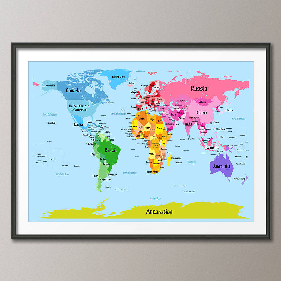 Childs big text world map by artpause notonthehighstreet satin poster fine art print frame not included gumiabroncs Images