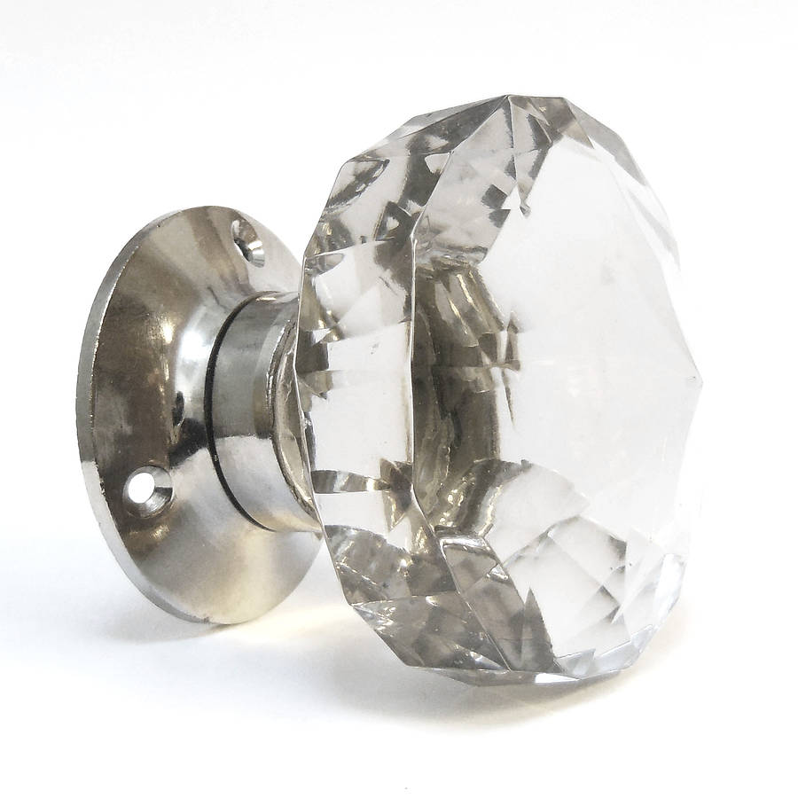 Faceted Glass Internal Turning Mortice Door Knobs By