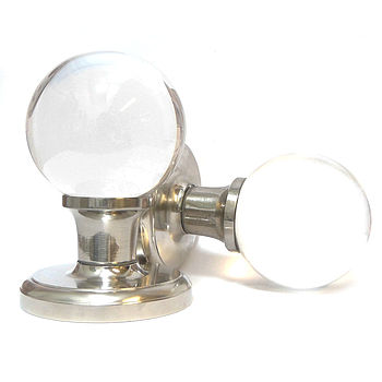 Pair Of Glass Ball Mortice Door Knobs