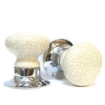 Cream Crackled Internal Turning Mortice Door Knobs