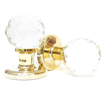 Clear Faceted Crystal Mortice Internal Door Knobs