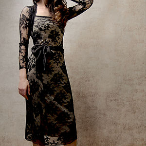 Lace Long Sleeve Occasion Dress In Black - luxury fashion