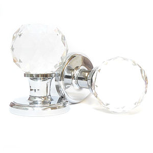 Faceted Crystal Mortice Internal Turning Door Knobs - home accessories