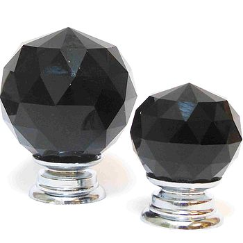 Black Crystal Glass Cupboard Knob