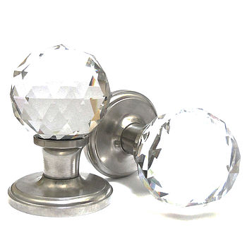 Crystal Glass Internal Turning Mortice Door Knobs