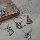 Set Of Six Christmas Wine Glass Charms
