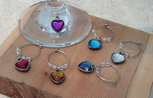 Set Of Six Heart Wine Glass Charms - drink & barware