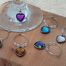 Set Of Six Heart Wine Glass Charms