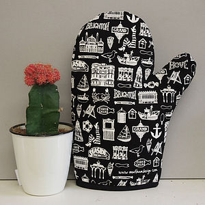 Illustrated Brighton Oven Mitt - oven gloves & mitts