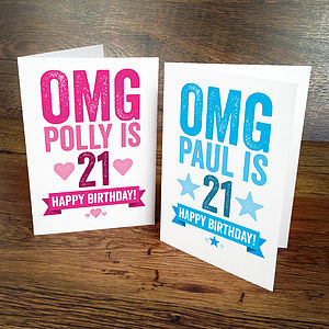 21st Birthday Card Personalised - birthday cards