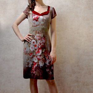 1950s Shift Dress In Rembrandt Rose Print Silk - dresses