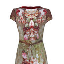 1950s Shift Dress In Rembrandt Rose Print Silk