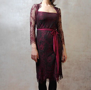 Olivia Long Sleeve Dress In Garnet Lace