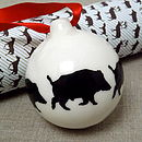Handmade Wild Boar Christmas Bauble
