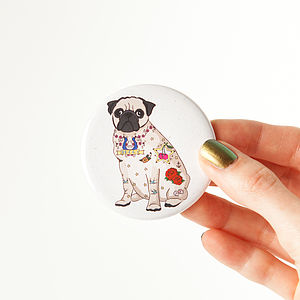 Tattoo Pug Pocket Mirror - beauty & pampering