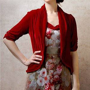 1940s Style Tea Jacket In Deep Red Silk Velvet