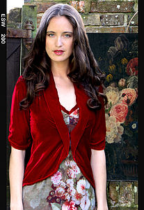 Lilliana Jacket In Deep Red Silk Velvet - party wear
