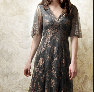 Cathleen Dress In Green And Gold Lace - christmas party wear