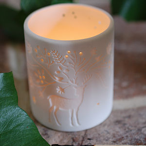 Ceramic White Reindeer Tea Light - christmas home accessories