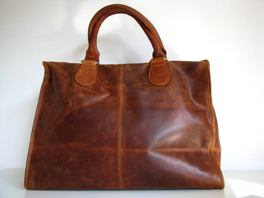 Vintage Look Leather Laptop Bag