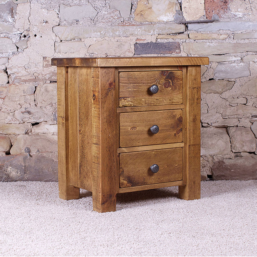 Solid wood chunky three drawer bedside table by h f