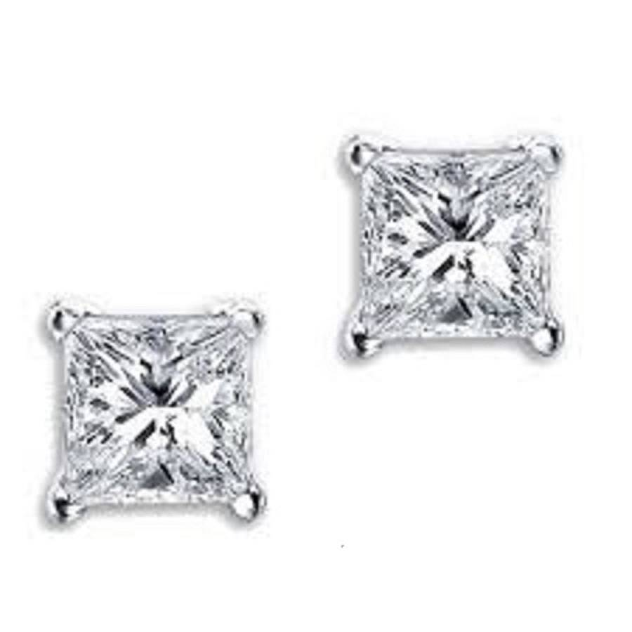 Square Silver Stud Earrings With Swarovski Crystal By