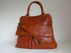 Leather Handbag With Pocket - bags & purses