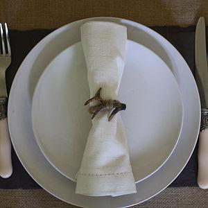 Set Of Four Antler Napkin Rings - table linen