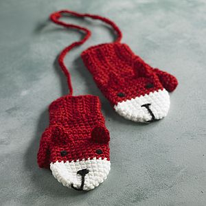Animal Character Mittens On A String - hats, scarves & gloves