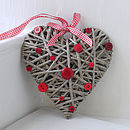 Red Button Wicker Heart