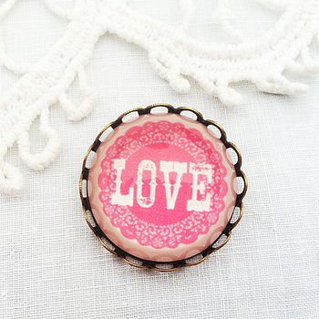 Pink Glass 'Love' Brooch