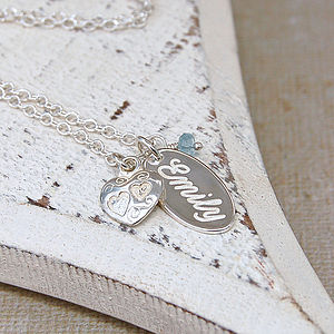 Handmade Personalised Silver Name Charm Necklace with Birthstone - children's jewellery