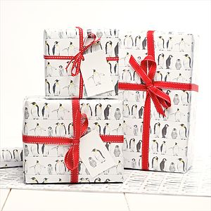 Emperor Penguin Gift Wrap - ribbon & wrap
