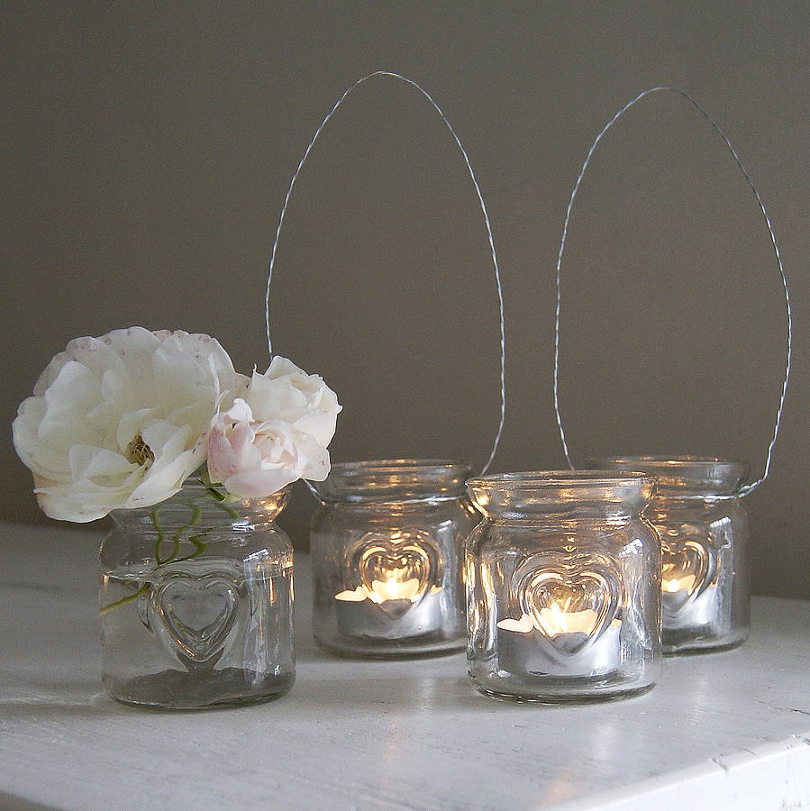 Heart Glass Hanging Tealight Holder
