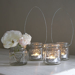 Small Heart Glass Hanging Tealight Holder - table decorations