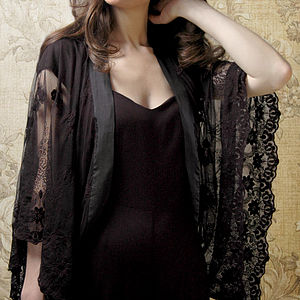 Shrug In Black Embroidered Lace - coats & jackets