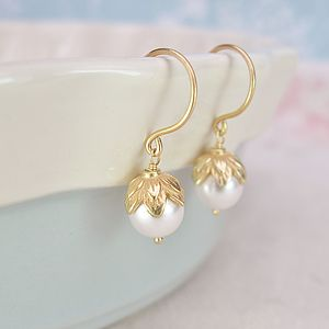 Alluring Fairy Cup And Ivory Pearl Earrings - women's jewellery